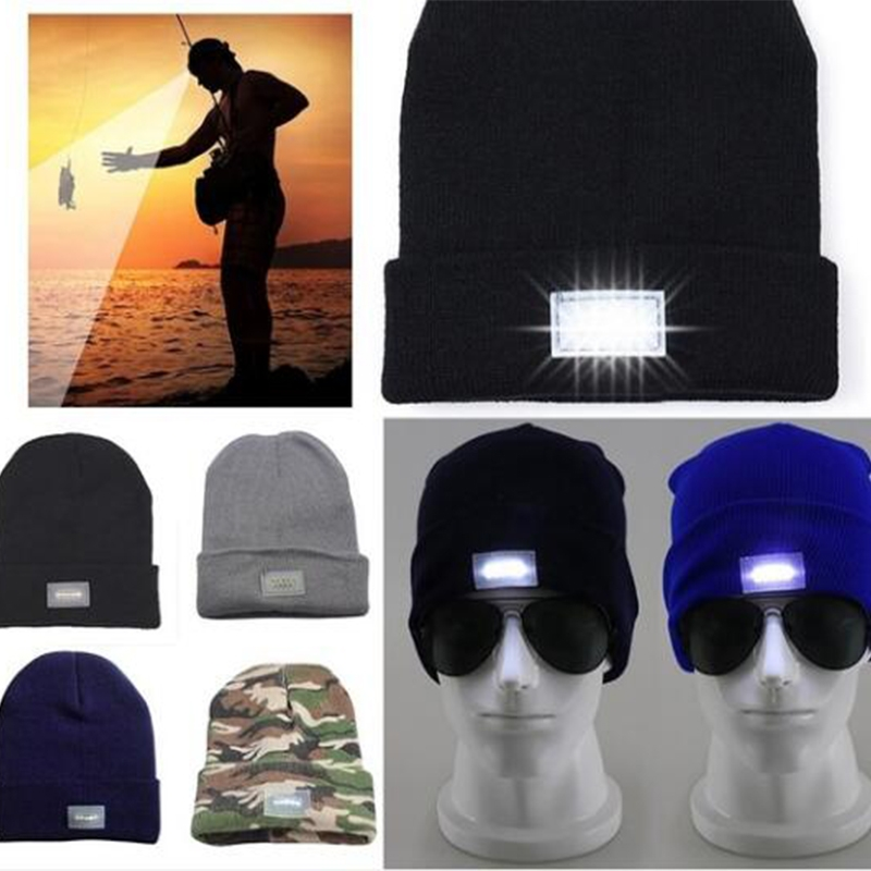 e584ba192f4 LED Lighted Cap Winter Warm Beanie Angling Camping Hat 5 Colorsu00a0 ...