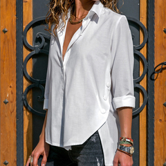 Lncrease The Number 2019 Women's Fashion Solid Color Roll Sleeve Shirts Casual Tops Blouse S-5XL white s