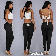 2019Fashion Rope-Belted Backpackers Women's Cargo Pants Casual Cotton Tough Durable Ladies Cargo Black S
