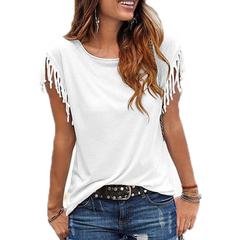 New 2019 Women Cotton Tassel Casual Blouses Short-sleeved Solid Color Shirts Top Short Sleeve O-neck white s