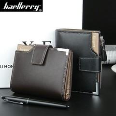 Leather Multifunction Men Wallets Zipper Pocket Trifold Purse Card Holder Hasp Wallet Zipper Purse black 19*10*2.5