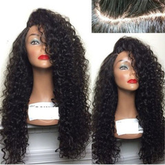 Curly Wig Brazilian Lace Front Human Hair Wigs With Baby Hair Lace Front Wig Remy Hairs black 70cm