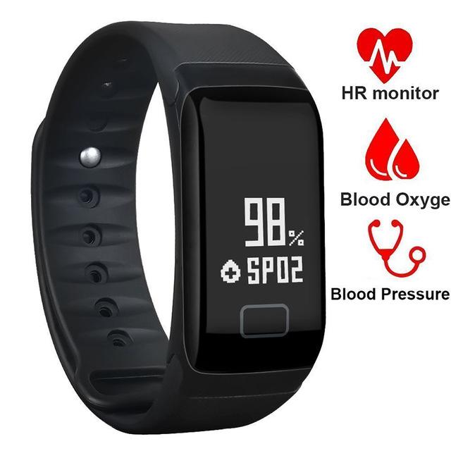 Sports Smart Watch Blood Pressure Heart Rate Oxygen Monitor Fitness Tracker Wristband Smartwatch black one size