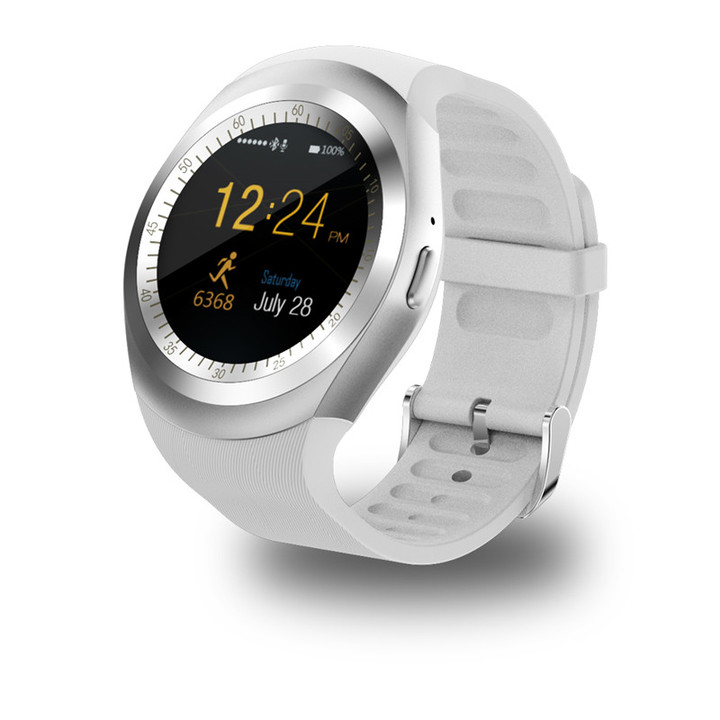Bluetooth Y1 Smart Watch Round 2G SIM&TF Card With Whatsapp Facebook App smartwatch For IOS&Android white one size