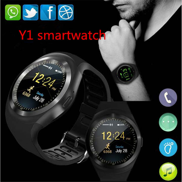 Bluetooth Y1 Smart Watch Round 2G SIM&TF Card With Whatsapp Facebook App smartwatch For IOS&Android black one size