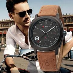 CURREN Luxury Brand Men Quartz Luminous Watch Fashion Sport Leather Strap Wristwatches black one size