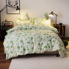 4Pcs Bedding Sets Aloe Cotton Duvet Cover Set (Duvet Cover+Bed Sheet+Pillow Cover) Green Flower 5*6