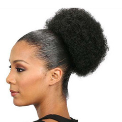 Synthetic Short Kinky Curly Pony Tail High Afro Puff Drawstring PonyTail Clip 1B# one size