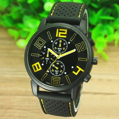 Casual Quartz Men's Fashion Watches Quartz Wristwatches Leather Watches Fashion Accessory Yellow 1 PCS