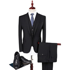 4 Colors Men's Slim Fit Business And Leisure Suit Pant Vest A Three-Piece Suit Wedding Suit Black M