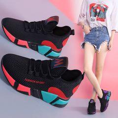 Woman Sneaker Fashion Flat Sport Shoes Kasut Women Athletic black&red 38