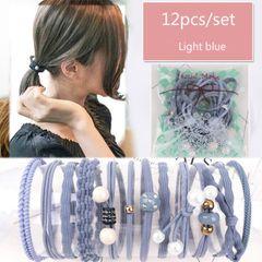 12Pcs/Set Korea Simple Headwear Women Girls Hair Rubber Band Accessories Ties for Hair Clips Wigs Light blue