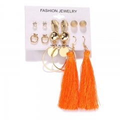 6 Style Crystal Rhinestone Hoop Tassel Earrings Set Girl Lady Party Jewelry Gift S1 one size