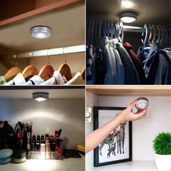 3 LED Lights Wireless Mini Round Shape Sticking Wall Touch Control for Cabinets / Kitchens/Boot silver wireless 0.3