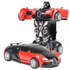One Step Impact Deformation Car Mini Transformatio Play Vehicles Toys for Boys & Girls Bugatti 【red】 12.5 x 6.5 x 4cm