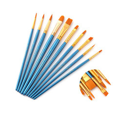 10 Pcs Artist Fine Nylon Hair Paint Brush Set for Watercolor Acrylic Oil  Drawing Art Supplie blue 10pcs