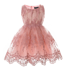 Cielarko 2017 summer dresses sleeveless tutu lace dress for girls kids babys pageant tulle petticoat pink 2t