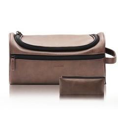Men & Women Travel Kit Cosmetic Makeup Bag Large Capacity Waterproof Hanging Shaving Dopp Kit Case Brown 28 *15 *13CM