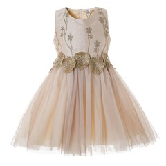 Cielarko Girls Flower Dress Party Dresses Children Princess Frocks Wedding Gowns Clothes for Girls champagne gold 2t-3t