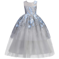 Cielarko Girls Dress Teen Children Clothing Ceremony Events Girls Party Dresses Lace Dress Ball Gown blue 12t-13t