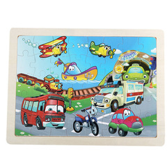 40 Pieces Wooden Puzzle Board Animal Early Educational Toy Birthday Gift for Boy Girl Traffic one size