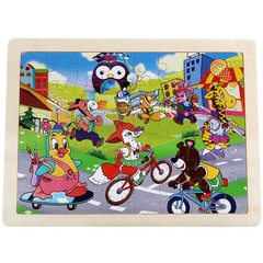 40 Pieces Wooden Puzzle Board Animal Early Educational Toy Birthday Gift for Boy Girl Animal one size