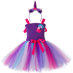Girls Tutu Dress Rainbow Princess Pony Unicorn Dress Christmas Halloween Costume Baby Girl Party dre elegant purple 2t