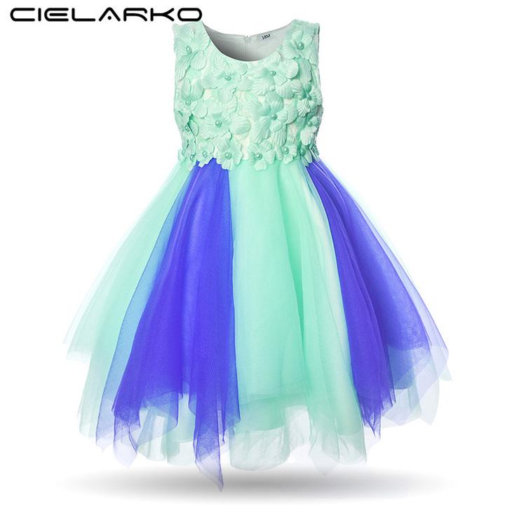 9c1a9fd8cd3d6 Mottelee Infant Girls Flower Dress Baby Party Dresses Tulle Toddler  Christening Summer Frocks green 9m