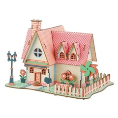 Kids 3D wooden DIY Houses Jigsaw Children Castle Construction Pattern Assembling Puzzle Toys HE01 normal