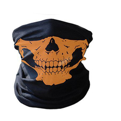 Skull Mask Bicycle Cycling Helmet Neck Face Mask Half Face Paintball Ski Sport Headband Masks Orange