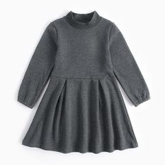 Girls Thick Sweatshirt Dress Girls Turtleneck Vestido Robe Fille Long Sleeve Clothes For Girls gray 5t-6t