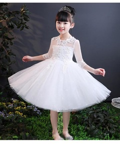 Girls Long Dress Long Sleeve Princess Party Dresses Flower Formal Wedding Birthday Ball Gown of 3-14 white 3t