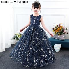 Star Sequined Girls Long Dress 2018 Pageant Princess Girlls Party Evening Dress Kids Dance Costumes blue 3t