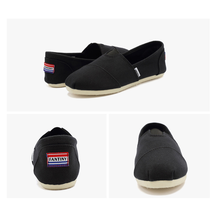 Female Canvas Flat Casual Shoes Popular Women Loafers Lightweight Embroidered Shoes Red 35-43 black 35