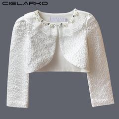 Girls Lace Party Coat Formal Bolero Wedding Beading Kids Jacket for Girl Long Sleeve Cloak Prom Cape white 2t