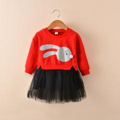 Kids Girls Dress Autumn Sweater Dress For Girl Cotton Patchwork Vestido Print Long Sleeve TUTU Dress red 2t