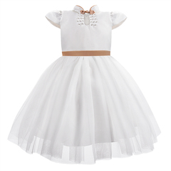 Girls Dress Princess Dresses with big bow White Flower Girls Wedding Party Dress Collar Robes champagne gold 2t-3t