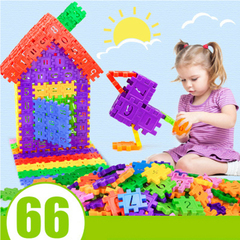 Kids Inserted Building Blocks Assembled Interconnecting Block Cognitive Toys A66pcs normal