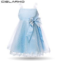 Toddler Girls Dress Elegant Baby Lace Party Dresses Blue Bow Kids Formal Frocks 2018 Summer Children blue 110
