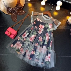 Flying Sleeve Girls Dress Flower Print Summer Princes Girl Dresses Lace Neck Tulle Children Costumes wisdom navy 3t
