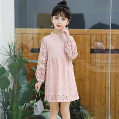 Girls Princess Dress Cotton Full Sleeve Elegant Cute Kids Party Dresses 2018 Summer Dresses for Girl pink 8t