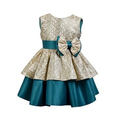 Children Party Dress for Girl Vintage Clothing Girl Princess Dresses Kids Bow Toddler Vestido Menina champagne gold 18M