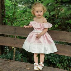 Ruffled Girls Party Dress Elegant Kids Birthday Dresses for Girl Princess Vestidos Baptism Clothing pink 24m