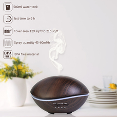 Aroma Diffuser Wood Grain Aromatherapy Essential Oil Humidifier Mist Humidifier for Home Spa Yoga