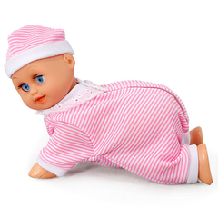 Electric Music Crawling Say Mama Daddy Laugh Crawl Doll Baby Infant Talking Singing Dancing Doll pink stripe normal