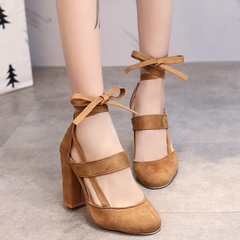 Hot Plus Size 35-42 Ladies Heels Suede Cross Thick High Heels Casual Sandals Women Shoes blue 35 yellow 34