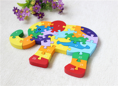 Kids Wooden Animals Puzzle English Alphabet Recognition Toys Bricks Baby Child Educational Toys elephant normal