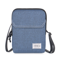 Unisex Casual Mini Shoulder Bag Messenger Bag Waterproof Oxford Fabric Soft Flap Phone/Card Bag blue large size