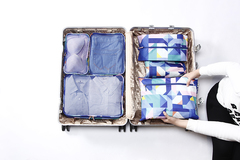 6 Set Waterproof Packing Cubes Backpack Storage Bags Travel Luggage Clothes Compression Organizer blue packing bags