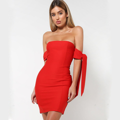 Women's Tube Top Dress Sexy Bag Hip Skirt Party Dress s red